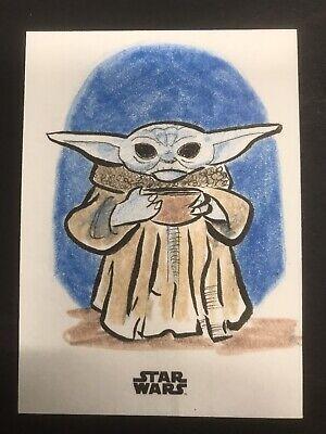 2020 Topps Mandalorian Season 1 Sketch Card Baby Yoda Grogu 1/1!! Bone Broth!!