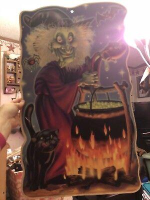Vintage Sign Yard Stake Witch Cauldron 2001 Jmc Impact HAlloween Decorations