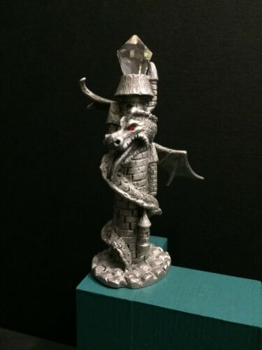 Spoontiques Pewter Winged Dragon Castle Tower Medieval Metal Miniature Figurine