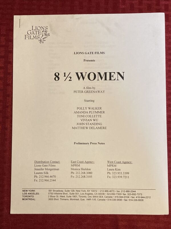 8 1/2 Women Preliminary Press Notes  Polly Walker Toni Collette