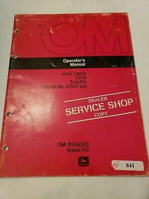 John Deere 7020 Tractor Original Owners Operators Manual Sn 2700 Up