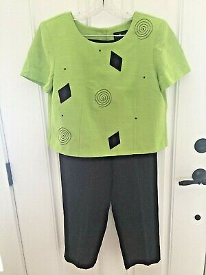 NEW/TAGS! ~SAG HARBOR~ CLASSY LIME GREEN TOP AND BLACK PANT SUIT SZ 14P MSRP $89