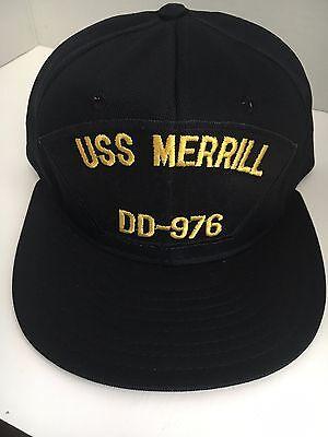 """U S NAVY CAP  """"USS MERRILL    """" DD-976  Made by AJD  DECOM 1998"""