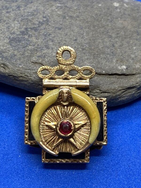 Vintage 14K Yellow Gold & Enamel Masonic Tri-Fold Charm Pendant or Medallion