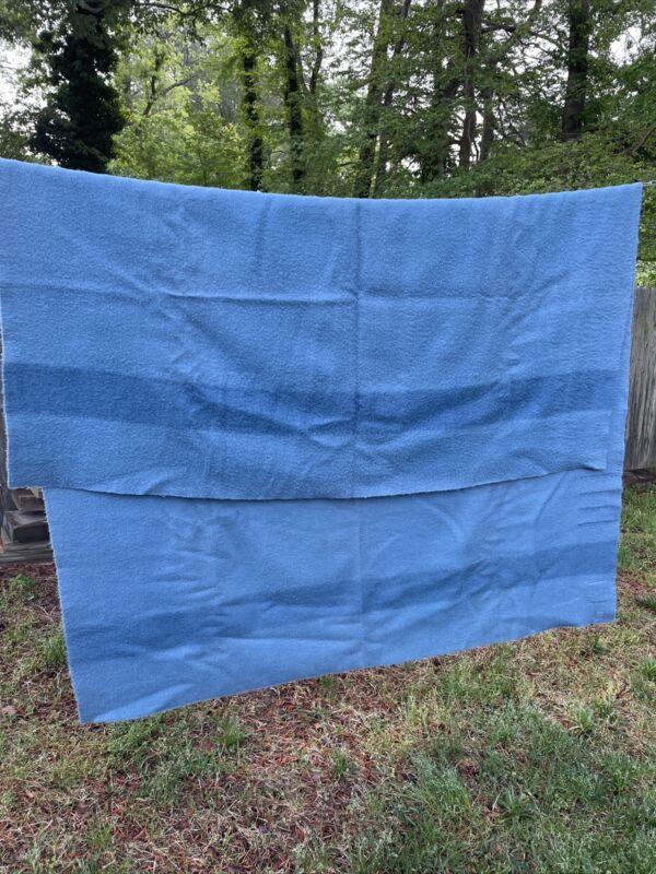 VINTAGE HUDSON BAY 100% WOOL BLUE 4-POINT MADE IN ENGLAND BLANKET