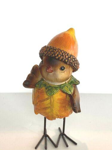 Ganz Bird Figurine w/Acorn Hat & Beautiful Fall Colored Leaf Leaves