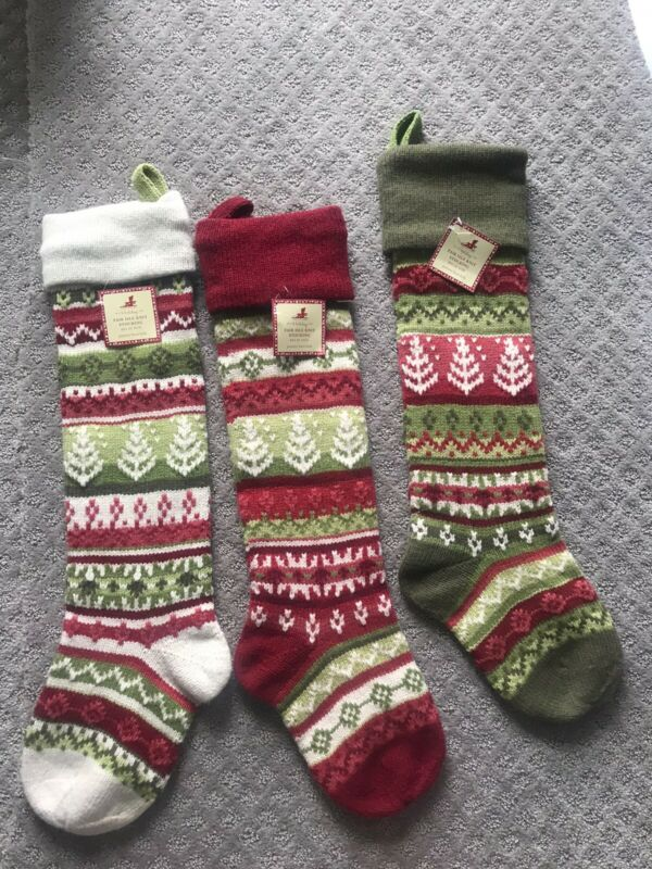 Pottery Barn Kids Fair Isle Knit Red Stocking NEW!!