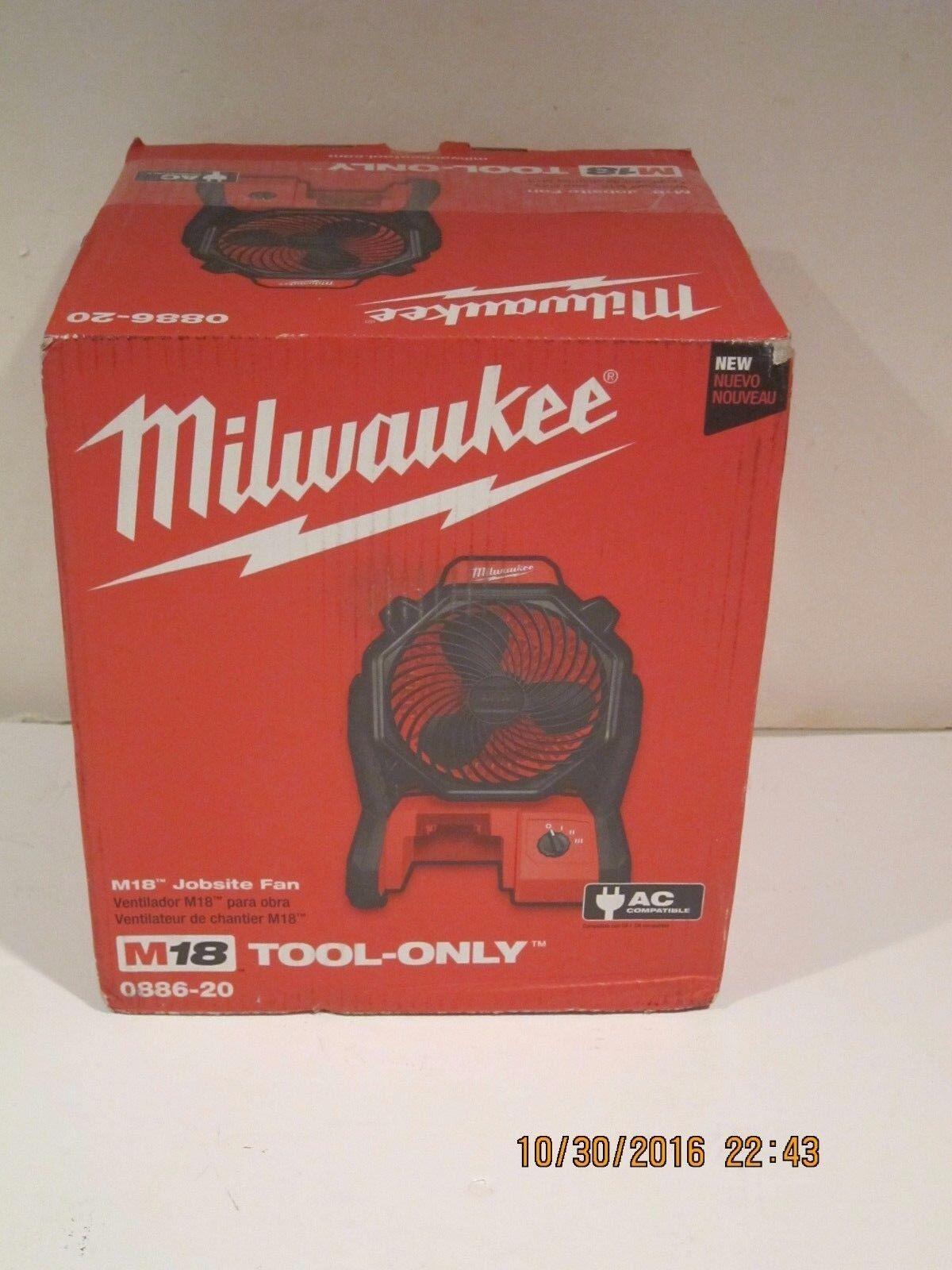 Milwaukee 0886-20- M18 Portable Jobsite Fan W/AC ADAPTER FRE