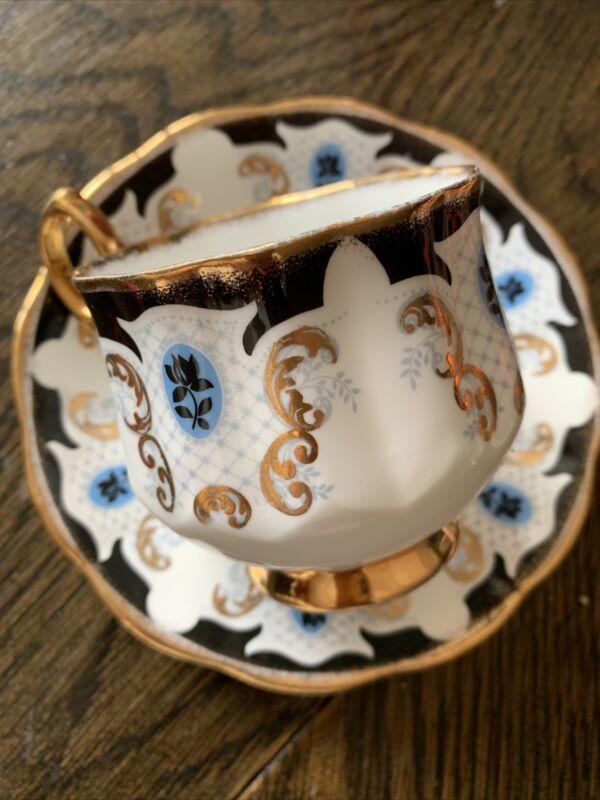 VINTAGE Rosina FINE BONE CHINA teacup and saucer Blue & Gold MINT