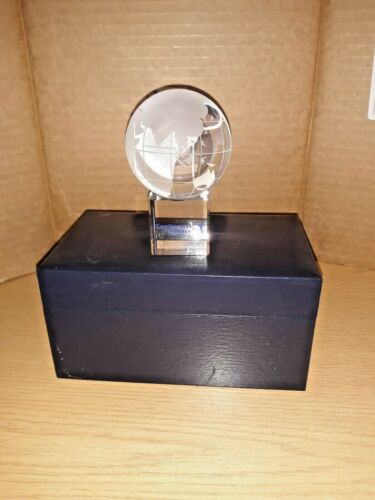 Vintage Collectible Continental Airlines 60mm World Glass Crystal Globe NIB