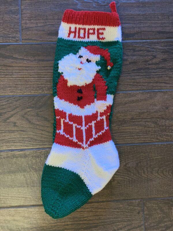 "HAND KNIT CHRISTMAS STOCKING -SANTA ~24"" long ~ Personalized"