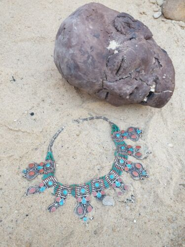 Rare Antique Ancient Egyptian Silver Necklace + Coral Turquoise Malachite 2480BC