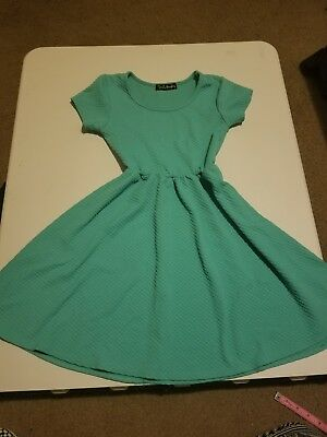 French Atmosphere Juniors Aqua Skater Dress Size Small -