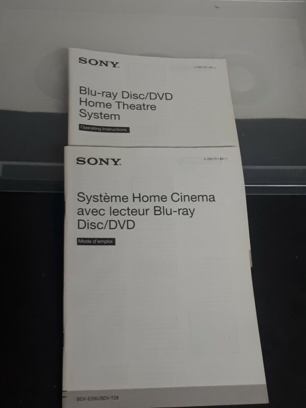 Sony Operating Instructions For Blu-Ray Disc/DVD Home Theatre System BDV-E280