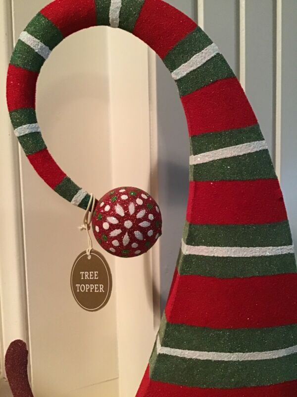 Pier 1 Santa Claus Hat Tree Topper Holly Antlers NWT