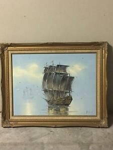 Vintage Sailing Painting Lutwyche Brisbane North East Preview