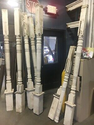 """5 turned porch posts 2 pilasters c1900 antique OH farmhouse 92.5"""" x 4 5/8"""" sq"""