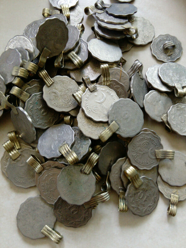 50 Vintage Tribal Kuchi Coins Scalloped Edges