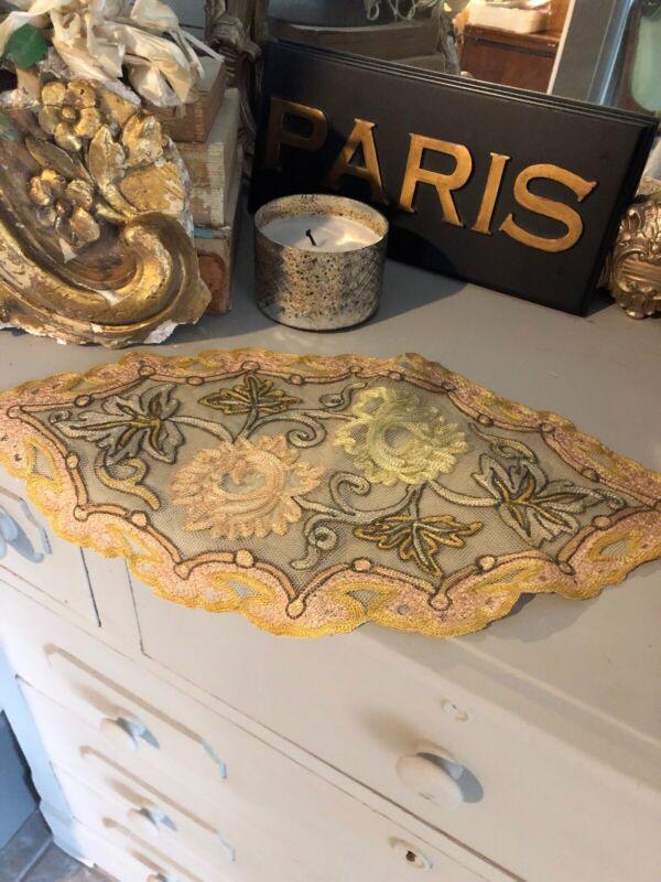 """Antique Fabulous French Lace Net Runner Doily Paris Stores 16"""""""