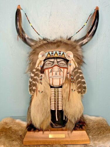 "Kathryn Yauney Sculpture ""Crazy Bull"" Native American Face Fur Feather Cherokee"