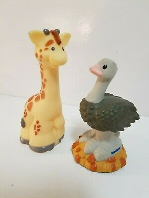Fisher Price Little People Lot of 2 Zoo Talkers Ostrich and Giraffe  EUC