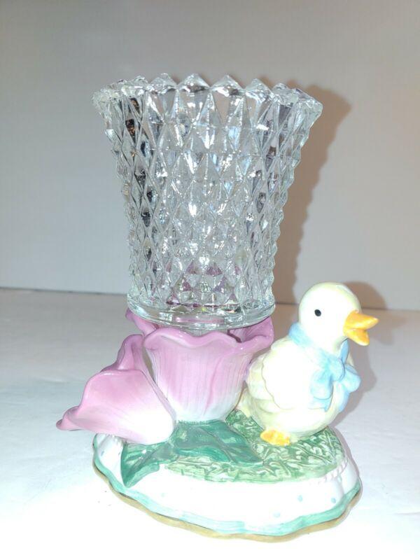 AVON Springtime Easter Candle Taper/Votive Holder Duck 2003 Diamond Cut Votive