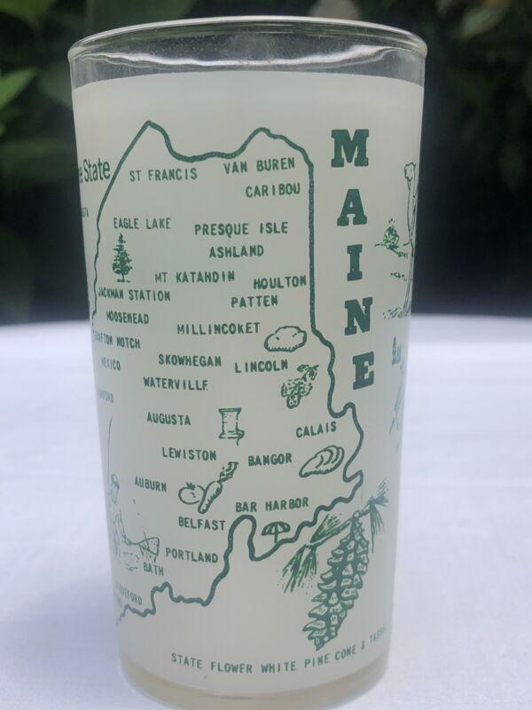 Maine The Pine Tree State Vintage Hazel Atlas Souvenir Glass Midcentury