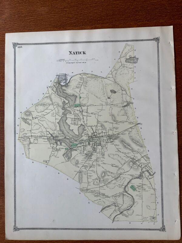 1875 Original Map, Natick, Saxonville, Framingham Center, Massachusetts MA.