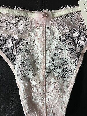 JEZEBEL 51269 Vintage NWT Mesh Lace Thong XL Pink White Nylon Spandex Jezebel Lace Thongs