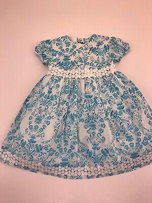 Oscar De La Renta Girls NWT Blue White Flowers Dress Size 5
