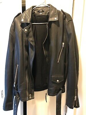 all saints mens black leather jacket medium - worn once, great condition