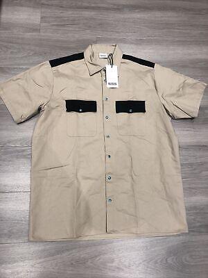 SSS World Corp Beige Short Sleeve Bowling Shirt XXL - NEW W TAGS