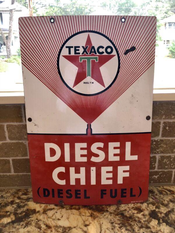 """Original 1956 Texaco Diesel Chief Pump Plate Gas & Oil Sign 18""""X12"""" Rare"""