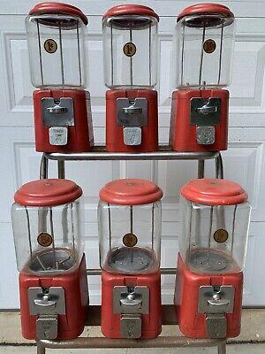 6 Vintage Oak Acorn Glass & Metal 1, 5, 10 Cent Penny Gum Ball Machines ( Red )