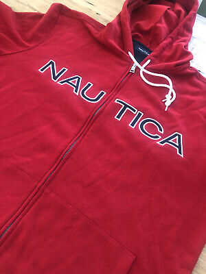 Nautica Mens Full Zip Sweater Size XL Hooded Drawstring Full Zip Red Color