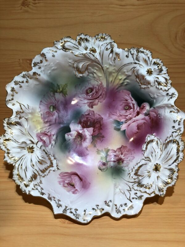 """Antique RS Prussia 10 1/2"""" Bowl Pink and Red Roses Red Star Mark"""