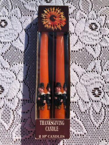 "Vintage Pair Thanksgiving Pilgrim Taper Candles 10"" in Box"
