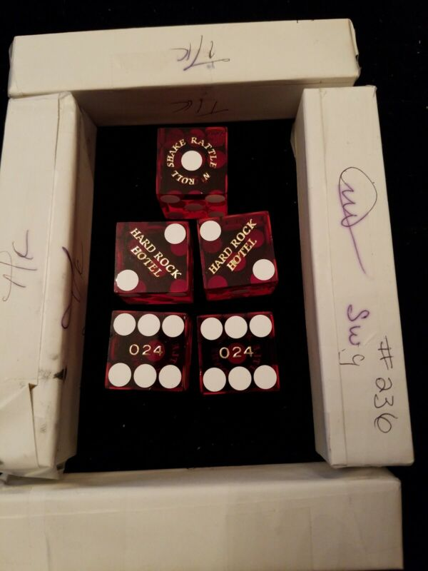 Casino Used Dice - Hard Rock Hotel Las Vegas 5 Red Dice (Stick) Matching Numbers