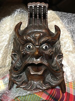 Antique, Dark Wood, Art Mask, Glass Eyes, Hand Carved, Wall Display