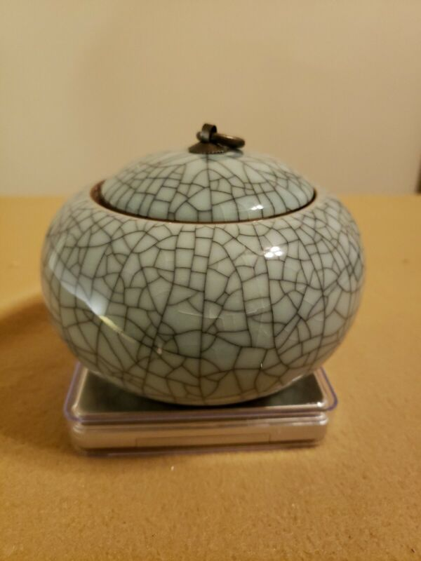 Chinese Antique 19th Century Very Beautiful Brother Glazed Tea Caddy