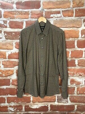 $895 Vintage GUCCI L 16.5 Military Army Monogram GG Print Executive Dress Shirt