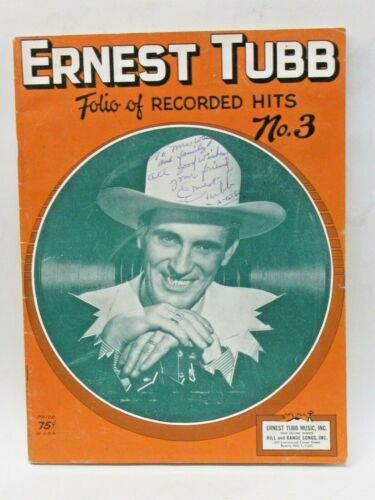 ERNEST TUBB autographed  FOLIO OF RECORDED HITS NO. 3 book magazine TM