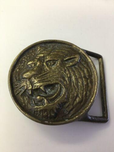 Vintage Solid Brass Tiger Head Belt Buckle