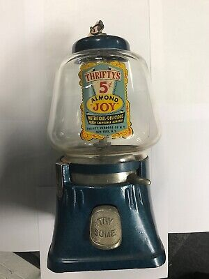 Vintage Antique 1940's Silver King 5 Cents Nut Gumball Machine WORKS +KEY