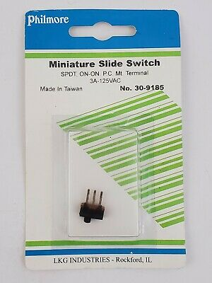 Philmore Miniature Slide Switch Spdt On-on Pc Mt Terminal .3a 125vac 30-9185