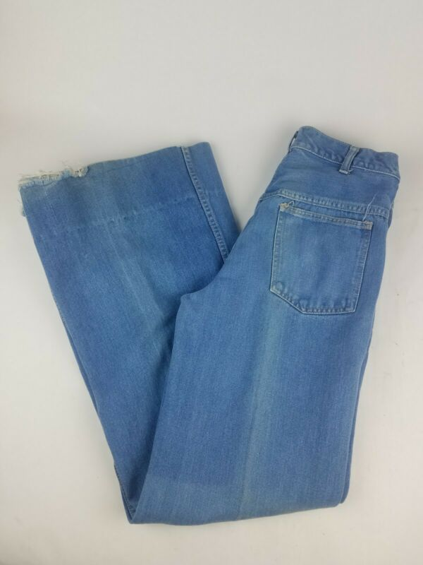 VTG 70s Brittania Mom Jeans Womens Size 11 33 L High Waist Bell Bottom Hippy
