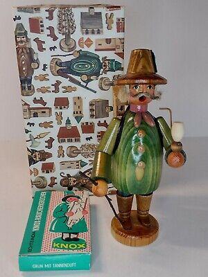 "1964 GDR German 8"" Wooden Incense Smoker Bird Collector figure in original box"