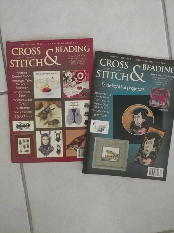 Jill oxton Cross Stitch & Beading lot of 2 used in good condition