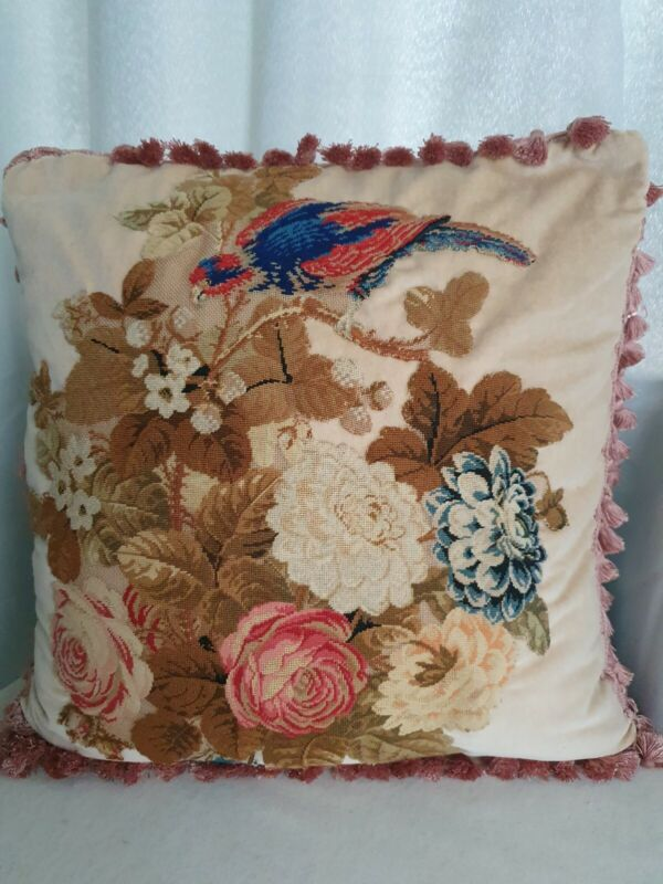 Stunning Antique victorian needlework  cushion  pillow bird and flowers  💐
