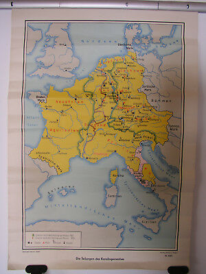 Old Wall Map Divisions D Karolingerreiches Vintage German Wall Map 64x92 ~ 1960